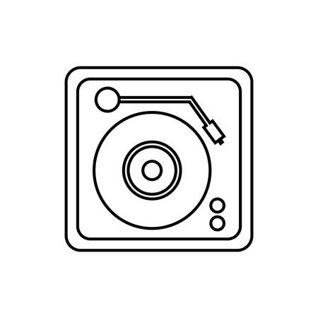 music machine: vinyl machine equalizer music sound dj melody icon. Isolated and flat illustration. Vector graphic