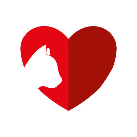 trusting: heart cat love pet animal icon. Isolated and flat illustration. Vector graphic
