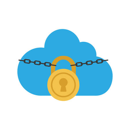 fatal: cloud padlock security system protection icon. Isolated and flat illustration. Vector graphic