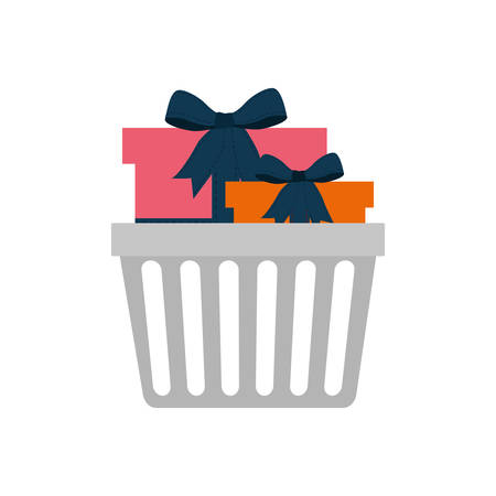 gift basket: shopping basket gift commerce consumerism icon. Isolated and flat illustration. Vector graphic