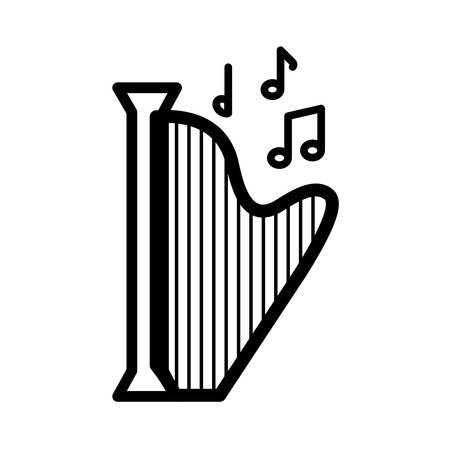 harp music note melody sound icon. Isolated and flat illustration. Vector graphic Illustration