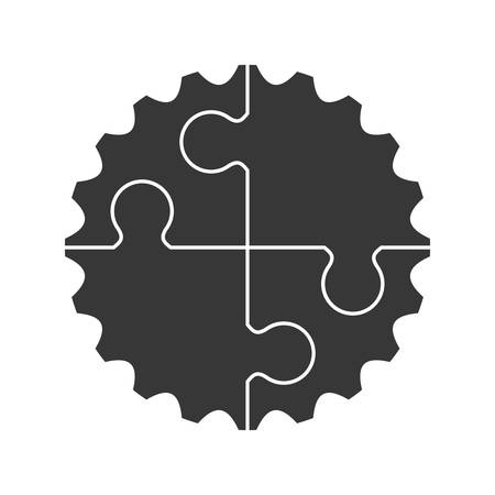 machine part: cog gear puzzle machine part technology icon. Isolated and flat illustration. Vector graphic Illustration