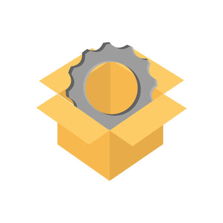 gear box: cog box gear machine part technology icon. Isolated and flat illustration. Vector graphic Illustration