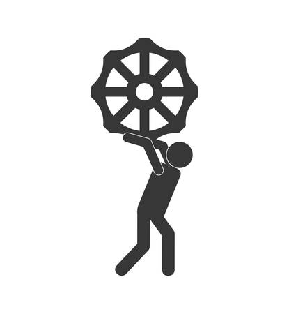 machine part: cog gear pictogram machine part technology icon. Isolated and flat illustration. Vector graphic Illustration