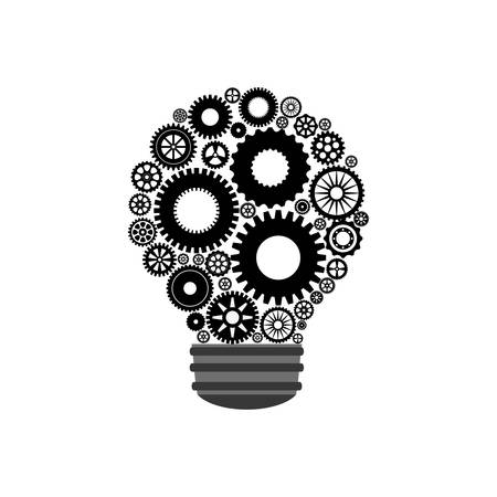 machine part: cog gear bulb machine part technology icon. Isolated and flat illustration. Vector graphic