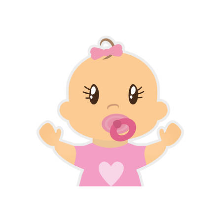 innocent girl: girl baby cute little childhood icon. Isolated and flat illustration. Vector graphic