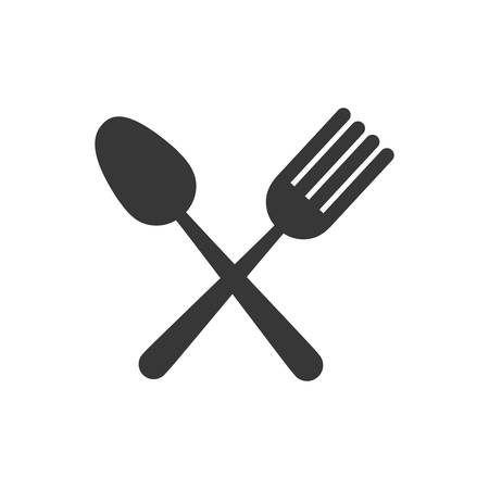 flatwares: fork spoon cutlery product food silhouette icon. Isolated and flat illustration. Vector graphic