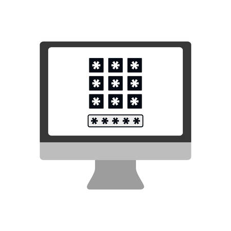 computer code: computer code security system protection icon. Isolated and flat illustration. Vector graphic Illustration