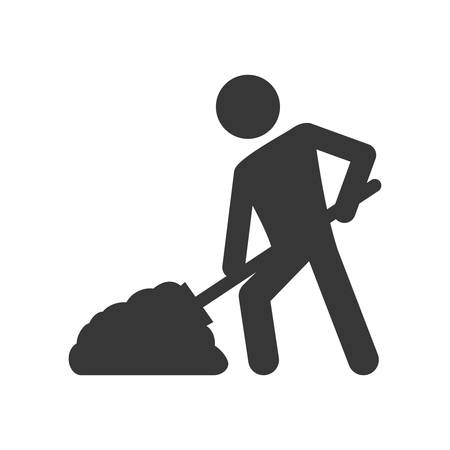 rebuilding: shovel constructer pictogram under construction repair icon. Isolated and flat illustration. Vector graphic Illustration