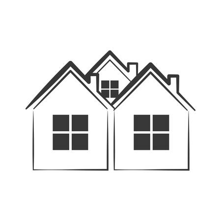luxury home exterior: home house silhouette real estate icon. Isolated and flat illustration. Vector graphic