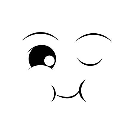 emotion expression: happy face cartoon expression emotion icon. Isolated and flat illustration. Vector graphic
