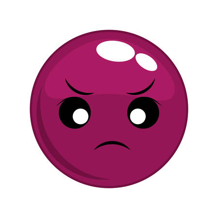 emotion expression: angry sphere face cartoon expression emotion icon. Isolated and flat illustration. Vector graphic