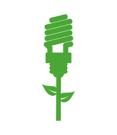 contribution: leaf bulb green ecology save renewable icon. Isolated and flat illustration. Vector graphic