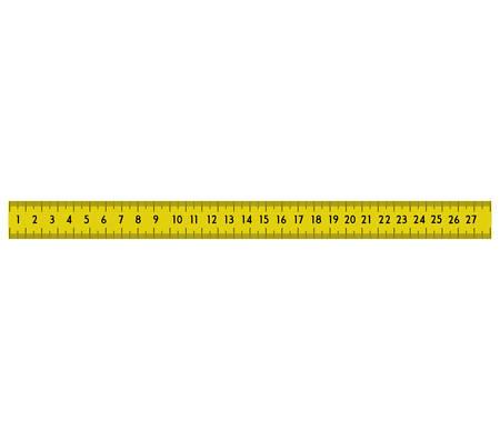 medidor de icono de la herramienta cinta métrica amarilla. ilustración y plana. gráfico vectorial