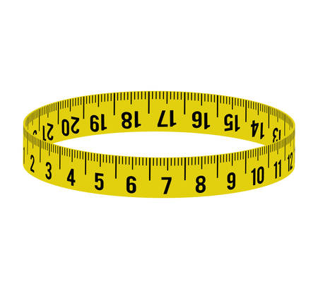 millimeters: meter circle yellow tape measure tool icon. Isolated and flat illustration. Vector graphic Illustration