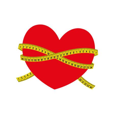 미터 심장 노란색 테이프 측정 도구 아이콘입니다. 절연 및 평면 그림입니다. 벡터 그래픽
