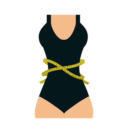 meter woman body yellow tape measure tool icon. Isolated and flat illustration. Vector graphic