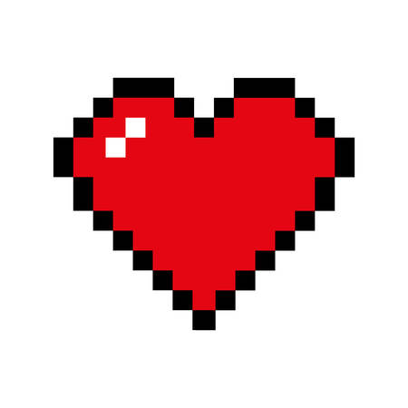 romatic: heart pixel love romatic passion icon. Isolated and flat illustration. Vector graphic Illustration