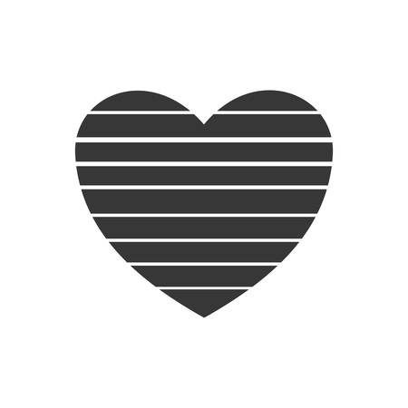 romatic: heart striped love romatic passion icon. Isolated and flat illustration. Vector graphic