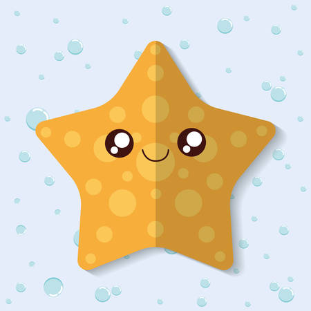 sea star: Sea animal cartoon design represented by sea star icon. Colorfull and flat illustration.