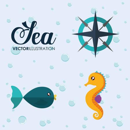 caballo de mar: del diseño del mar de la historieta animal representado por caballo de mar, la brújula y el icono de pescado. Llena de color e ilustración plana. Vectores