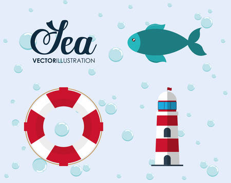 submerged: Sea animal and lifestyle design represented by cartoon icon set. Colorfull and flat illustration.