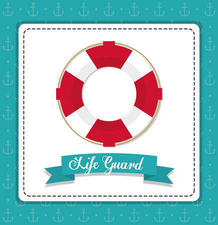 life guard: Sea lifestyle and life guard design represented by float icon over frame shape. Colorfull and flat illustration. Anchor background. Illustration