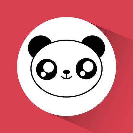 design Cute animal représenté par kawaii icône de panda sur un cercle. Colorfull et illustration plat.
