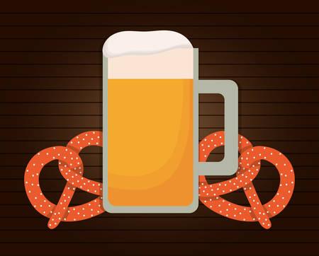 pretzel: Beer pretzel oktoberfest. Germany. Colorfull illustration Illustration