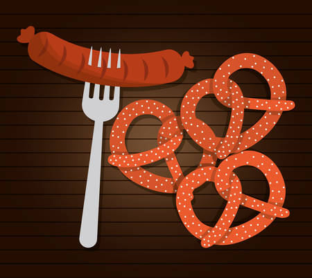 german food: sausage german food. Germany. Colorfull illustration. Brown background Illustration