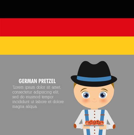 comida alemana: Niño de dibujos animados icono de pretzel sombrero. Comida alemana. ilustración de colorfull