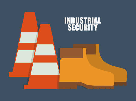 detection: Cone boots icon. Industrial Security. Colorfull Vector illustration