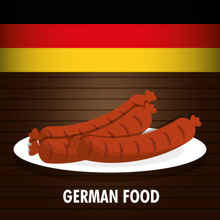 comida alemana: sausage german food. Germany. Colorfull illustration. Brown background Vectores