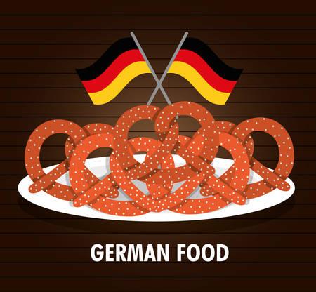 comida alemana: Pretzel flag plate german food. Germany. Colorfull illustration. Brown background