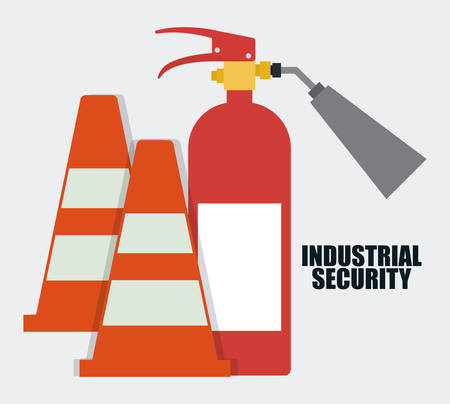 seguridad industrial: icono de extintor de cono. Seguridad Industrial. ilustración vectorial de Colorfull