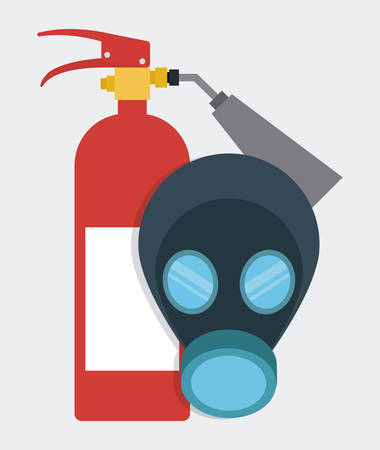 detection: Extinguisher mask icon. Industrial Security. Colorfull Vector illustration