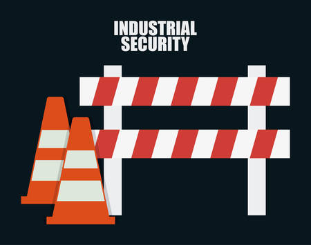 security barrier: Cone and barrier icon. Industrial Security. Colorfull Vector illustration