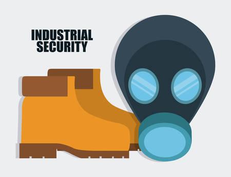 seguridad industrial: M�scara y el icono de botas. Seguridad Industrial. ilustraci�n vectorial de Colorfull