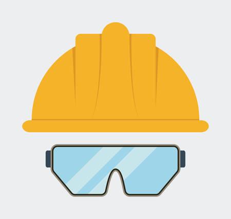 seguridad industrial: Amarilla icono de las gafas de casco. Seguridad Industrial. ilustraci�n vectorial de Colorfull