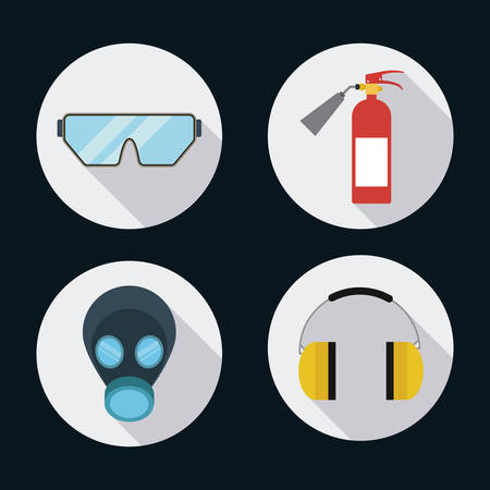 Extinguisher mask glasses headphone icon. Industrial Security. Colorfull Vector illustration