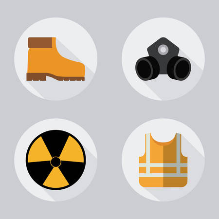 yellow jacket mask biohazard boots icon. Industrial Security. Colorfull Vector illustration Illustration
