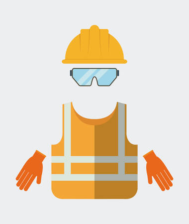 industrial safety: Yellow helmet jacket glasses gloves icon. Industrial Security. Colorfull Vector illustration