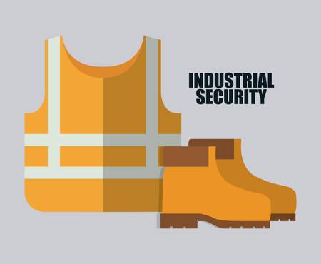 seguridad industrial: chaqueta amarilla y el icono de botas. Seguridad Industrial. ilustraci�n vectorial de Colorfull