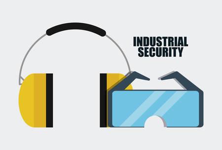 seguridad industrial: Auriculares y gafas icono. Seguridad Industrial. ilustración vectorial de Colorfull