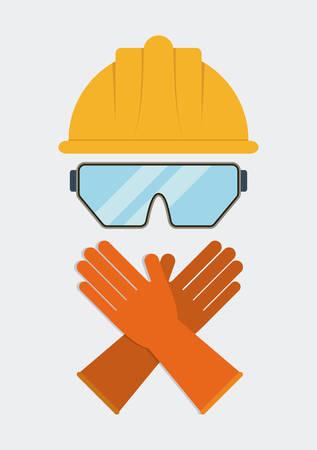 seguridad industrial: Casco amarillo gafas icono de guantes. Seguridad Industrial. ilustración vectorial de Colorfull