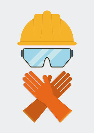 Yellow helmet glasses gloves icon. Industrial Security. Colorfull Vector illustration Illustration