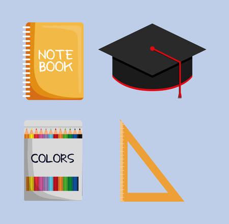implements: Notebook graduation cap colors ruler icon. School implements. Vector graphic