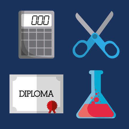implements: calculator scissors flask diploma icon. School implements. Vector graphic