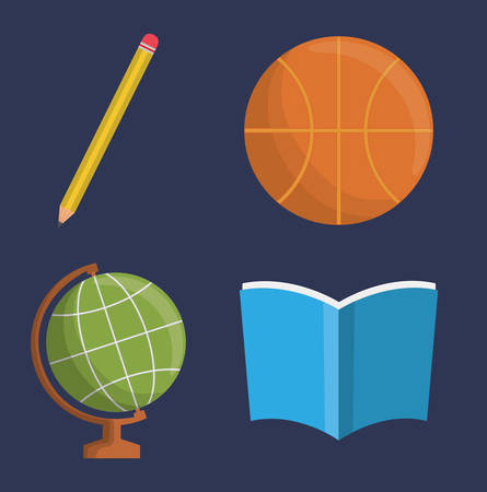 implements: pencil basketball planet sphere book icon. School implements. Vector graphic
