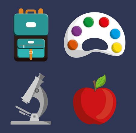 implements: palette microscope apple bag icon. School implements. Vector graphic